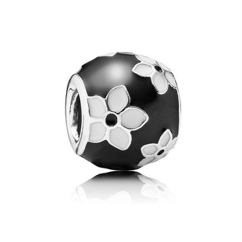 2018 Pandora Black and White Flower Charm 791398ENMX