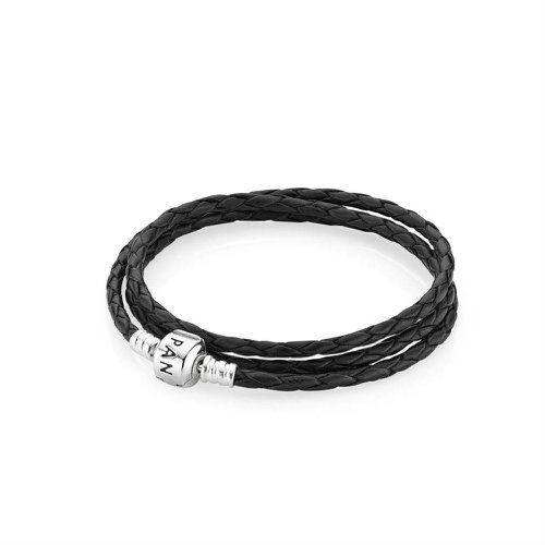 2018 Pandora Black Triple Woven Leather Bracelet 590705CBK