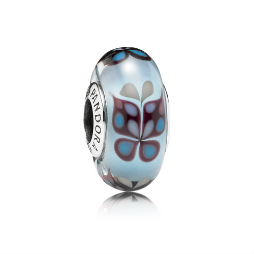 2018 Pandora Blue Butterfly Kisses Murano Charm 791622