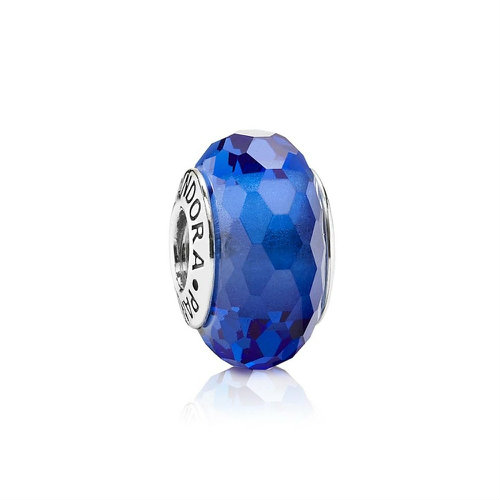 2018 Pandora Blue Faceted Murano Glass Charm 791067