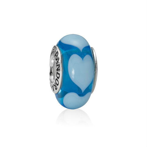 2018 Pandora Blue with White Hearts Murano Glass Charm 790657