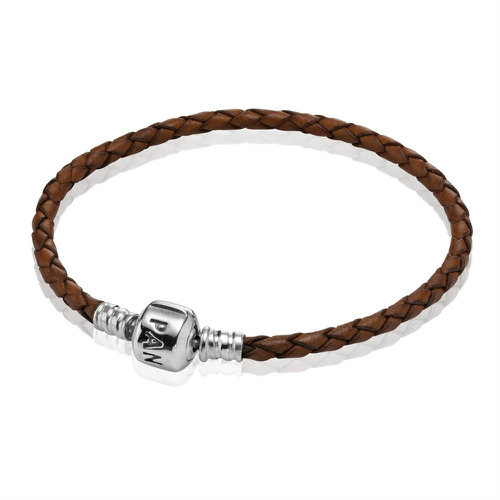 2018 Pandora Brown Single Woven Leather Bracelet 590705CBN
