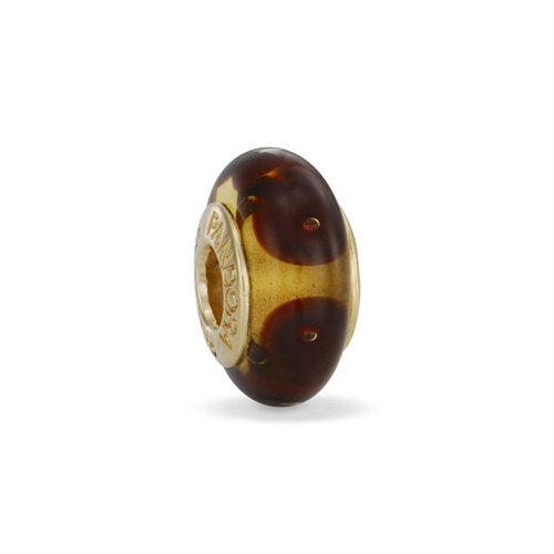 2018 Pandora Dotted Gold Charm with Brown Murano Glass 750402