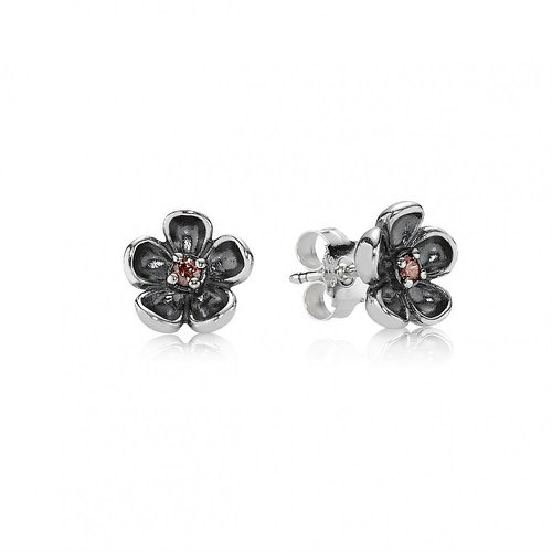 2018 Pandora Flower Stud Earrings 290522TCZ