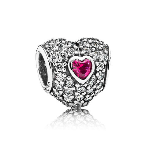 2018 Pandora Official British Heart Foundation Red Pavé Heart Charm 791168SRU