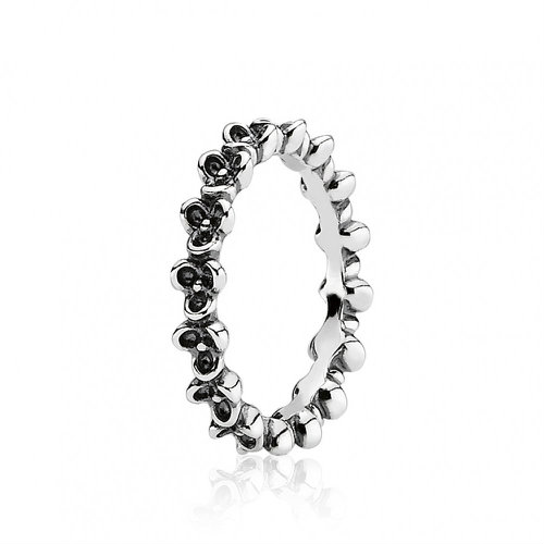 2018 Pandora Oxidised Silver Flower Ring 190849
