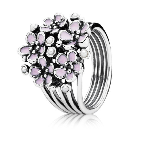2018 Pandora Pink Cherry Blossom Multiple Flower Ring 190878EN40