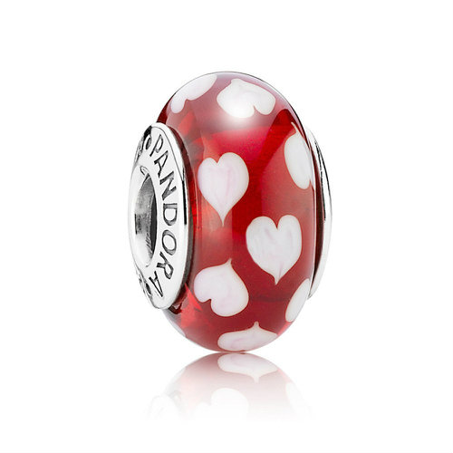 2018 Pandora Red and White Heart Murano Charm 790948