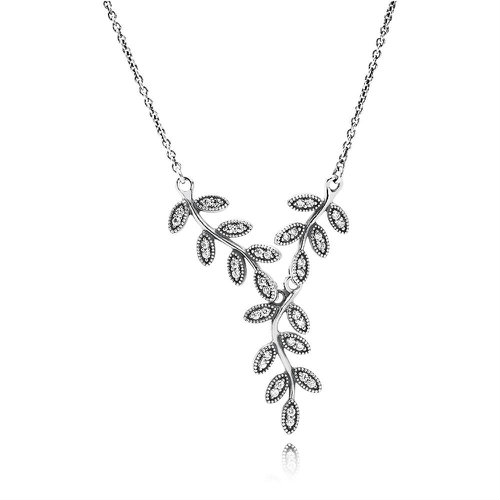 2018 Pandora Shimmering Leaves Necklace 590414CZ