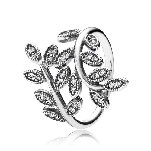 2018 Pandora Shimmering Leaves Ring 190921CZ