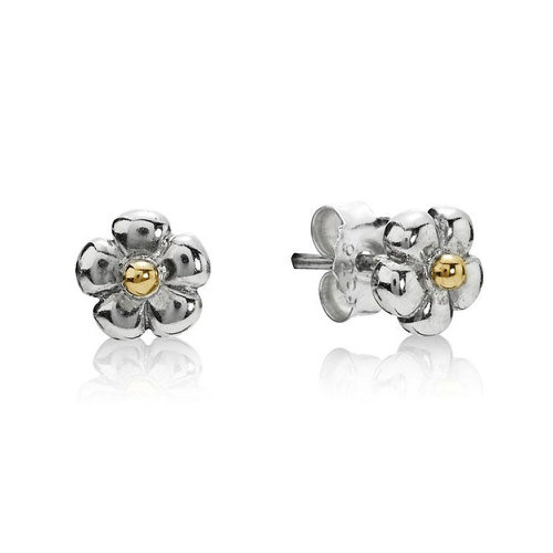 2018 Pandora Silver and 14ct Gold Flower Stud Earrings 290932