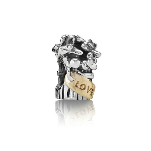 2018 Pandora Silver and 14ct Gold Love Bouquet Charm 790441