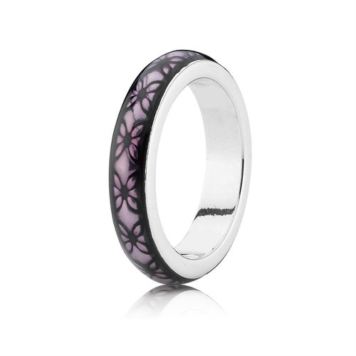 2018 Pandora Silver and Purple Enamel Ring 190868EN31